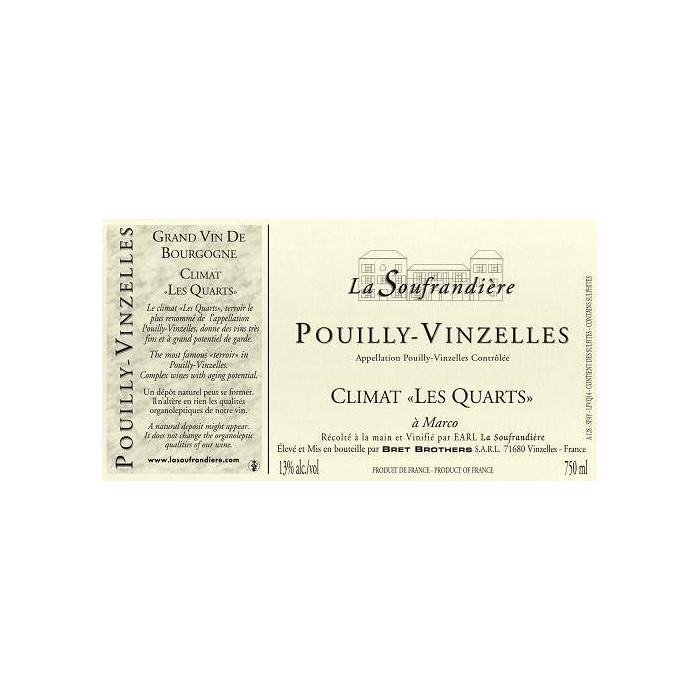 """Bret Brothers Domaine La Soufrandière Pouilly-Vinzelles """"Les  Quarts"""" 2019 etiquette"""