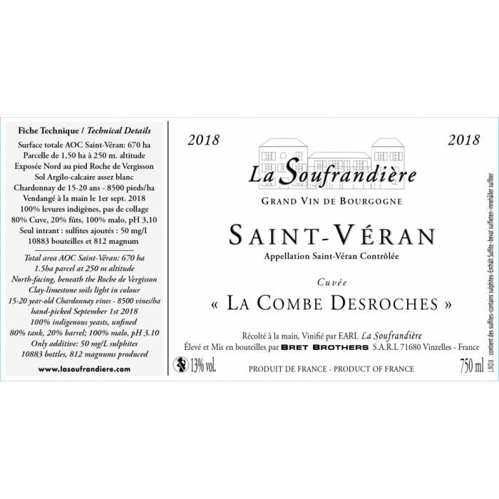 """Bret Brothers La Soufrandière Saint-Véran """"La Combe DesRoche"""" blanc sec 2018 etiquette"""