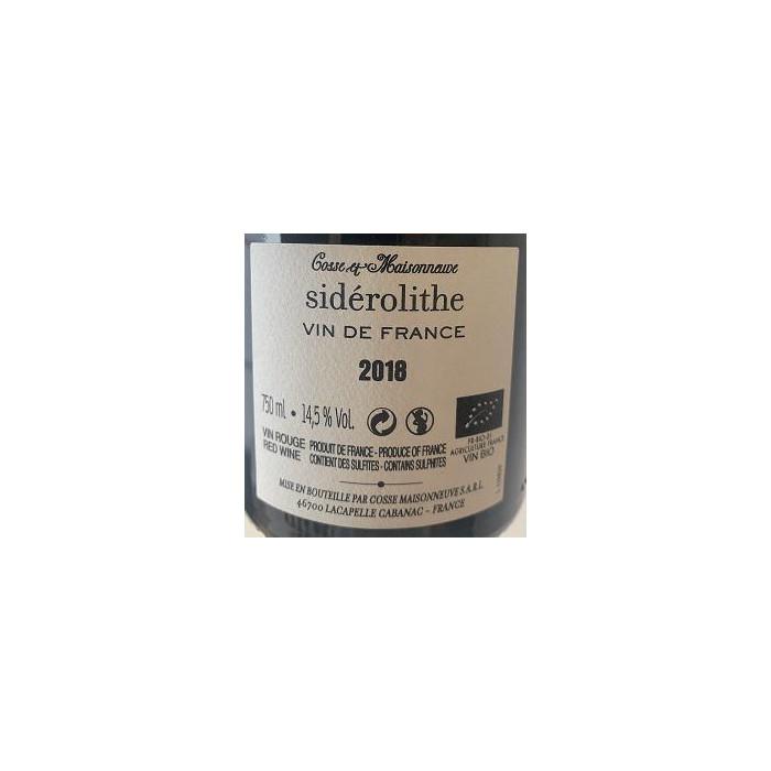 """Domaine Cosse-Maisonneuve """"Sidérolithe"""" (100% CF) rouge 2018 contre etiquette"""