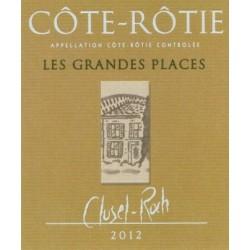 """Domaine Clusel-Roch Cote-Rotie """"Les Grandes Places"""" rouge 2012 etiquette"""