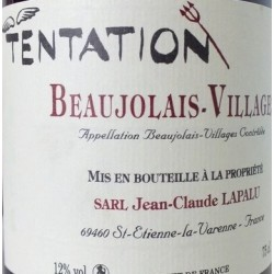 Domaine Jean-Claude Lapalu Beaujolais Villages Tentation rouge 2015 etiquette