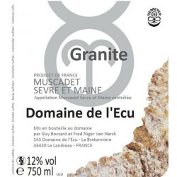 """Domaine de l'Ecu Muscadet de Sèvre et Maine """"Granite"""" blanc sec 2015 etiquette"""