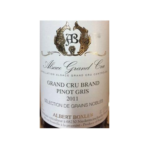 Domaine Boxler pinot gris Grand Cru Brand Sélection de grains nobles moelleux 2011