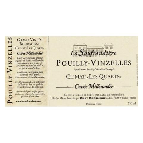 """Bret Brothers Domaine La Soufrandière Pouilly-Vinzelles """"Les Quarts"""" cuvée Millerandée 2015 etiquette"""