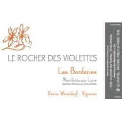 """Le Rocher des Violettes Montlouis """"Les Borderies"""" blanc demi-sec 2015 etiquette"""