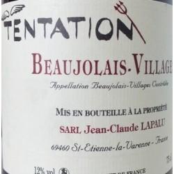 """Domaine Jean-Claude Lapalu Beaujolais Villages """"Tentation"""" rouge 2016 etiquette"""