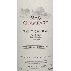 """Mas Champart Saint-Chinian """"Clos de La Simonette 2015 etiquette"""