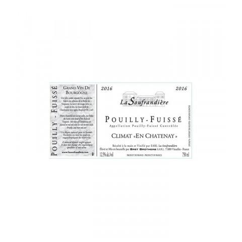 """Bret Brothers La Soufrandière Pouilly-Fuissé """"En Chatenay"""" blanc sec 2016 etiquette"""