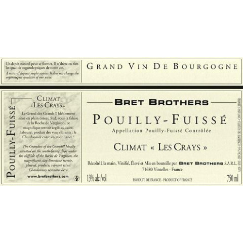 "Bret Brothers Pouilly-Fuisse ""Les Crays"" dry white 2016"