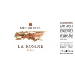 la rosine syrah de Stephane Ogier 2016 etiquette