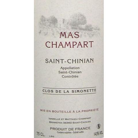 """Mas Champart Saint-Chinian """"Clos de La Simonette"""" red 2010"""