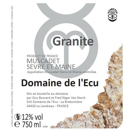 """Domaine de l'Ecu Muscadet de Sèvre et Maine """"Granite"""" blanc sec 2018 etiquette"""