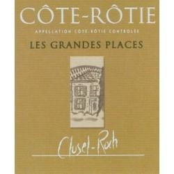 """Domaine Clusel-Roch Cote-Rotie """"Les Grandes Places"""" rouge 2017 etiquette"""