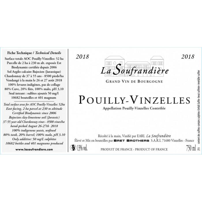 Bret Brothers Domaine La Soufrandière Pouilly-Vinzelles 2018 etiquette
