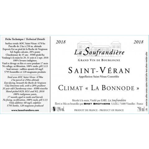 """Bret Brothers La Soufrandière Saint-Véran """"La Bonnode"""" dry white 2018"""