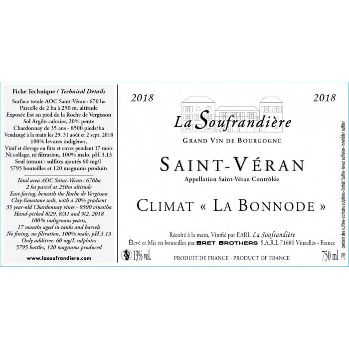 """Bret Brothers La Soufrandière Saint-Véran """"La Bonnode"""" blanc sec 2018 etiquette"""