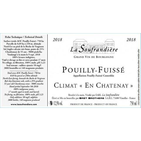 "Bret Brothers La Soufrandière Pouilly-Fuissé ""En Chatenay"" dry white 2016"