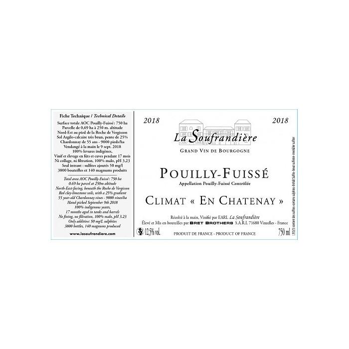 """Bret Brothers La Soufrandière Pouilly-Fuissé """"En Chatenay"""" blanc sec 2018 etiquette"""