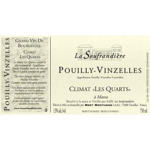 """Bret Brothers Domaine La Soufrandière Pouilly-Vinzelles """"Les Quarts"""" 2018 etiquette"""