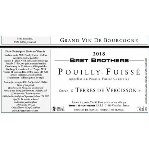 """Bret Brothers Pouilly-Fuissé """"Terres de Vergisson"""" blanc sec 2018 etiquette"""