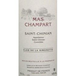 Mas Champart Saint Chinian Clos de La Simonette 2017 etiquette