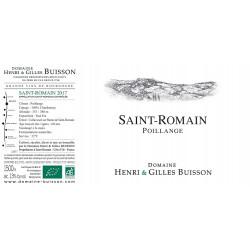 """Domaine Henri et Gilles Buisson Saint-Romain """"En Poillange"""" blanc sec 2018 etiquette"""