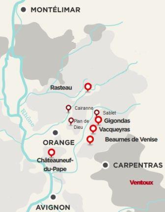 Chateauneuf du pape, ventoux, gigondas, les meilleurs vins du Rhône